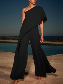 Black Ruffle Asymmetric Shoulder One Shoulder High Waisted Wide Elegant Long Jumpsuit