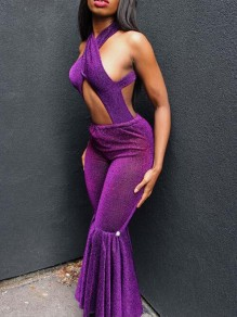 Purple Cut Out Halter Neck Backless Bell Bottom Flare Long Jumpsuit