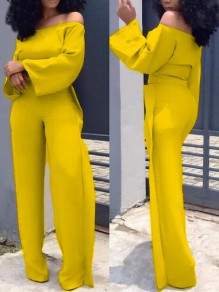 Yellow Ruffle Off Shoulder High Waisted Elegant Party Wide Leg Long Jumpsuit