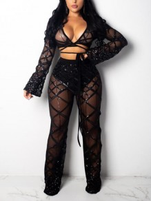 Black Patchwork Grenadine Sequin Deep V-neck Flare Sleeve Sheer Sparkly Casual Club Two Piece Long Jumpsuit