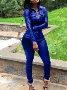 Royal Blue Single Breasted PU Leather Turndown Collar Plus Size Casual Long Jumpsuit
