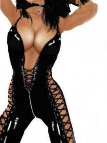 Black PU Leather Latex Zipper Cross Drawstring Lace-up Bodysuit Plunging Neckline Club Jumpsuit