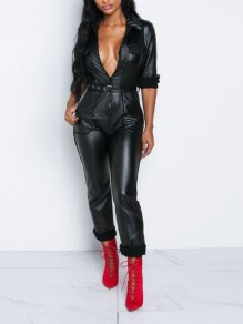 Black Belt Pockets Turndown Collar Deep V-neck PU Leather High Waisted Long Jumpsuit
