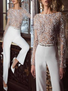 White Patchwork Grenadine Sequin Sparkly Glitter Birthday Wide Leg Palazzo Elegant Party Jumpsuit