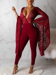 Burgundy Patchwork Lace Bell Sleeve Bodycon Deep V-neck Party Long Jumpsuit