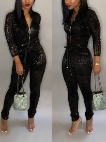 Black Sequin Zipper Band Collar Long Sleeve Drawstring Waist Glitter Sparkly Long Jumpsuit Pants