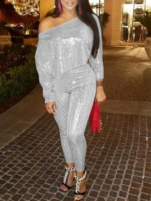 Silver Sequin One-Shoulder Glitter Sparkly High Waisted Two Piece Banquet Party Clubwear Long Jumpsuit