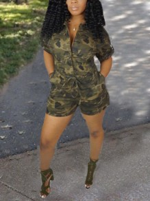 Army Green Camouflage Pockets High Waisted Drawstring Half Sleeve Casual Short Jumpsuit