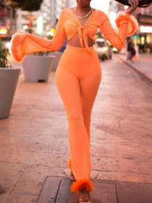 Neon Orange Fur High Waisted Four Piece Sheer Fashion Long Jumpsuit