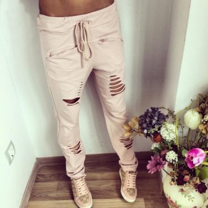 Pink Plain Hollow-out Drawstring Waist Casual Long Pants