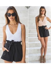 Black Plain Sashes Elastic Waist High Waisted A Type Casual Shorts