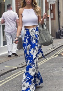 Blue Flowers Print Sashes Draped High Waisted Bohemian Wide Leg Pants