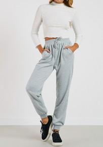 Pantalons longues cordon élastique taille normale sport gris