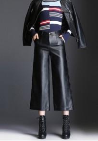 Schwarze Taschen Übergröße PU-Leder High Waisted Breites Bein Sieben Culottes Hosen Damen