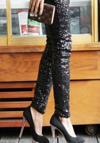 Paillette leggings longue slim mode de soirée femme pantalons noir