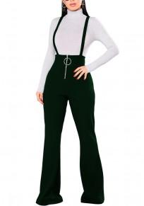 Armeegrün Ebene Schultergurt Reißverschluss hoch taillierte beiläufige lange Hosen