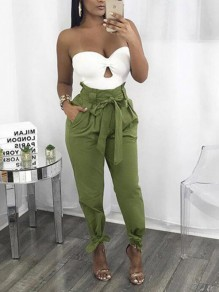 Army Green Bow Belt Pockets High Waisted Casual Long Casual Cargo Pants