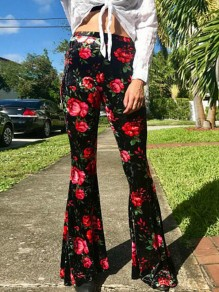 Black Red Floral Print High Waisted Casual Stretchy Flare Bell Bottom Pant
