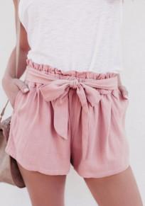 Rosa Schleife Taschen Hohe Taille Süße Kurze Hose mit Bindegürtel Damen Hotpants Shorts