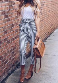 Weiß Grau Gestreift Taschen mit Schleife Gürtel Hohe Taille Mode Nine's Hose Damen Karottenhose