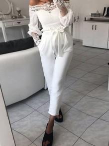 Weiß Taschen Mit Bindegürtel Schleife High Waist Lang Hose Paperbag Hose Damen Karottenhose
