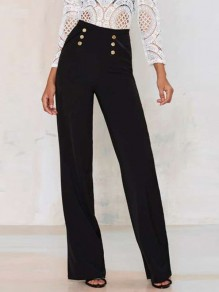 Black Buttons Pockets High Waisted Wide Leg Elegant Office Worker/Daily Long Pants