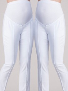 White High Waisted Maternity Elegant Plus Size Casual Pencil Long Pants