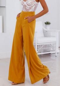 Pantalones largos bolsillos jengibre drapeados botones pierna ancha ropa de trabajo elegante
