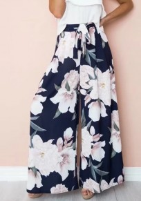 Navy Blue Floral Sashes Bohemian Casual Wide Leg Long Pants