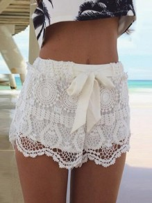 White Floral Lace Cut Out Sashes Fashion Shorts