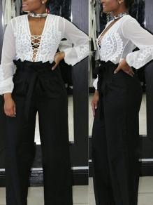 Pantalon longue poches ceintures plissées taille haute décontracté jambe large noir