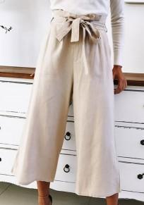 Pantalons écharpes à lacets large jambe 7/8 beige