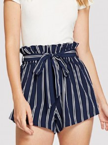 Blue Striped Belt Ruffle High Waisted Casual Short Pant