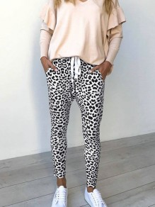White Leopard Print Drawstring Pockets Casual Long Pants
