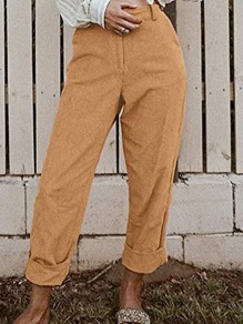 Yellow Pockets Buttons High Waisted Straight Leg Mon Casual Corduroy Pant