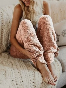 Pink High Waisted Faux Fur Oversize Comfy Loose Casual Pajamas Pants