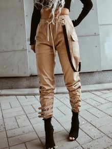 Khaki Pockets Drawstring Chain High Waisted Streetwear Fashion Casual Long Cargo Pants