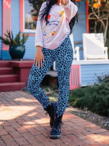 Blue Leopard Print Bodycon Casual High Waisted Long Pant