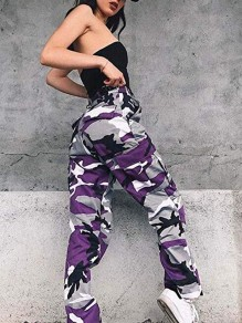 Purple Camouflage Pattern Pockets High Waisted Button Hippie Haren Casual Long Cargo Pants