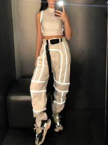 White Geometric Reflective Buckle Belt Harem Casual Long Cargo Pants