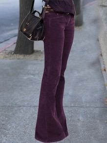 Purple Buttons Zipper Pockets High Waisted Corduroy Bell Bottomed Flares Long Pant