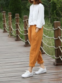 Yellow Patchwork Pockets High Waisted Fashion Pant