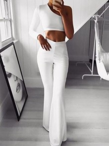 White Patchwork High Waisted Flare Bell Fashion Pant