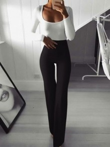 Black Patchwork High Waisted Flare Bell Fashion Pant
