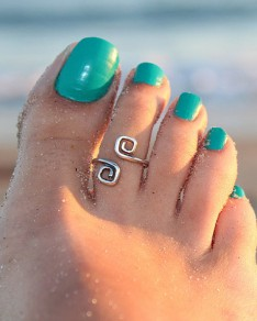 Silver 8 Shaped Alloy Vintage Feet Ring