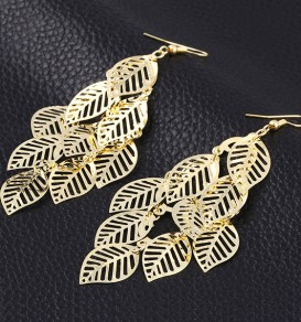 Golden Leaf Shape 2-in-1 Alloy Earrings