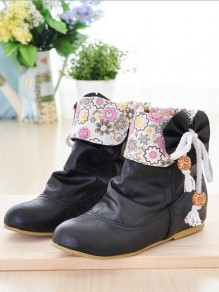 Black Floral Print Bow Within The Higher Casual Boots