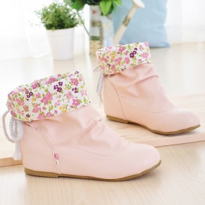 Pink Round Toe Flat Fashion Ankle Boots