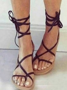 Black Round Toe Flat Cross Strap Lace-up Fashion Sandals