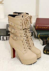 Apricot Point Toe Chunky Rivet Double Buckle Fashion Martin Boots